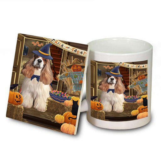 Enter at Own Risk Trick or Treat Halloween Cocker Spaniel Dog Mug and Coaster Set MUC53086