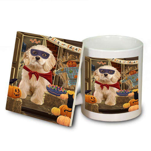 Enter at Own Risk Trick or Treat Halloween Cocker Spaniel Dog Mug and Coaster Set MUC53087