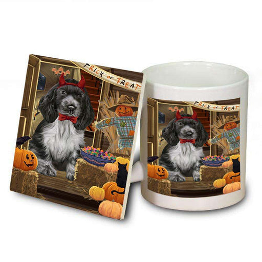 Enter at Own Risk Trick or Treat Halloween Cocker Spaniel Dog Mug and Coaster Set MUC53089