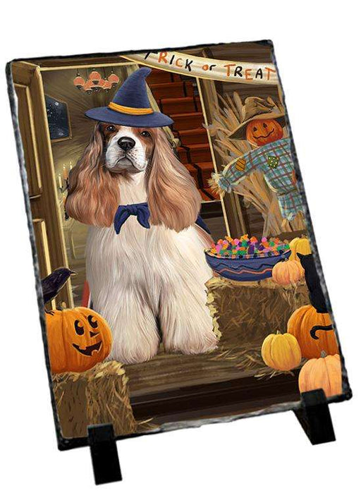 Enter at Own Risk Trick or Treat Halloween Cocker Spaniel Dog Photo Slate SLT53094