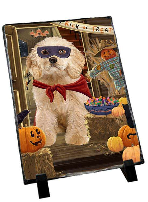 Enter at Own Risk Trick or Treat Halloween Cocker Spaniel Dog Photo Slate SLT53095