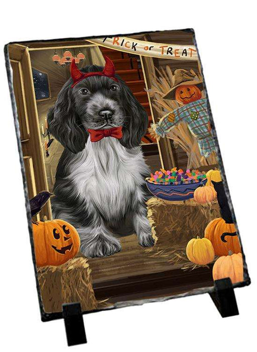 Enter at Own Risk Trick or Treat Halloween Cocker Spaniel Dog Photo Slate SLT53097