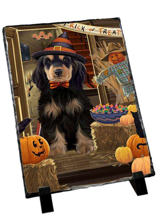 Enter at Own Risk Trick or Treat Halloween Cocker Spaniel Dog Photo Slate SLT53098