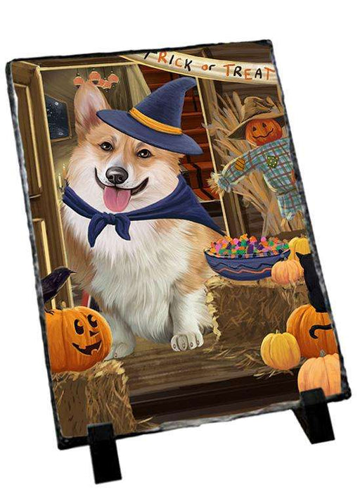 Enter at Own Risk Trick or Treat Halloween Corgi Dog Photo Slate SLT53099