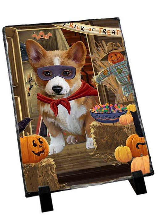 Enter at Own Risk Trick or Treat Halloween Corgi Dog Photo Slate SLT53100