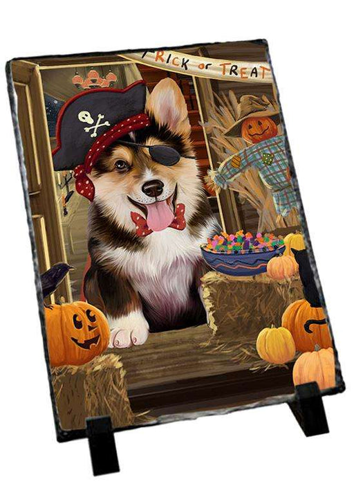 Enter at Own Risk Trick or Treat Halloween Corgi Dog Photo Slate SLT53101