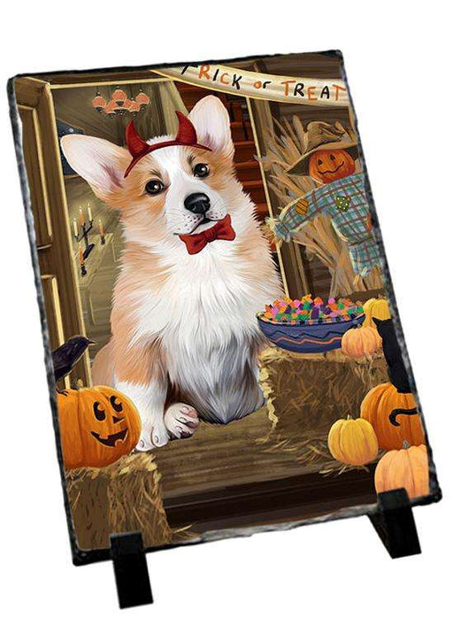 Enter at Own Risk Trick or Treat Halloween Corgi Dog Photo Slate SLT53102
