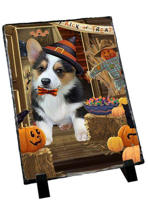 Enter at Own Risk Trick or Treat Halloween Corgi Dog Photo Slate SLT53103
