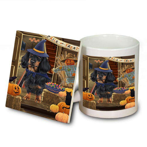 Enter at Own Risk Trick or Treat Halloween Dachshund Dog Mug and Coaster Set MUC53096
