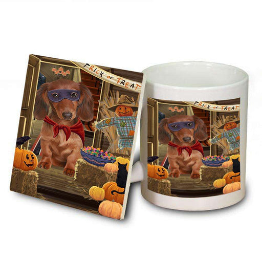 Enter at Own Risk Trick or Treat Halloween Dachshund Dog Mug and Coaster Set MUC53097