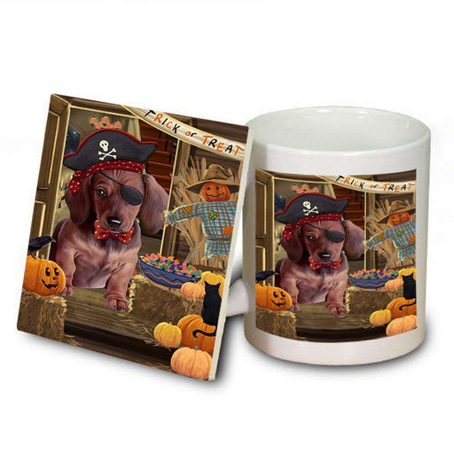 Enter at Own Risk Trick or Treat Halloween Dachshund Dog Mug and Coaster Set MUC53098
