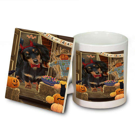 Enter at Own Risk Trick or Treat Halloween Dachshund Dog Mug and Coaster Set MUC53099