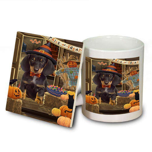 Enter at Own Risk Trick or Treat Halloween Dachshund Dog Mug and Coaster Set MUC53100