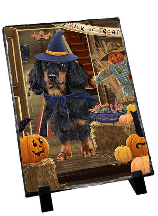 Enter at Own Risk Trick or Treat Halloween Dachshund Dog Photo Slate SLT53104