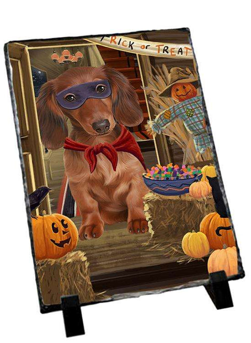 Enter at Own Risk Trick or Treat Halloween Dachshund Dog Photo Slate SLT53105