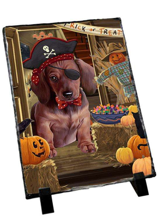 Enter at Own Risk Trick or Treat Halloween Dachshund Dog Photo Slate SLT53106