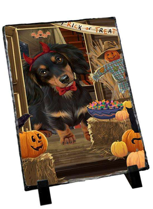 Enter at Own Risk Trick or Treat Halloween Dachshund Dog Photo Slate SLT53107