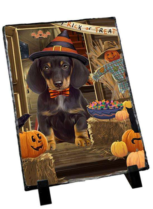 Enter at Own Risk Trick or Treat Halloween Dachshund Dog Photo Slate SLT53108