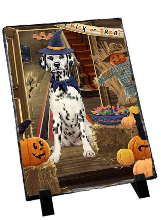 Enter at Own Risk Trick or Treat Halloween Dalmatian Dog Photo Slate SLT53109
