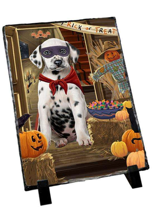 Enter at Own Risk Trick or Treat Halloween Dalmatian Dog Photo Slate SLT53110
