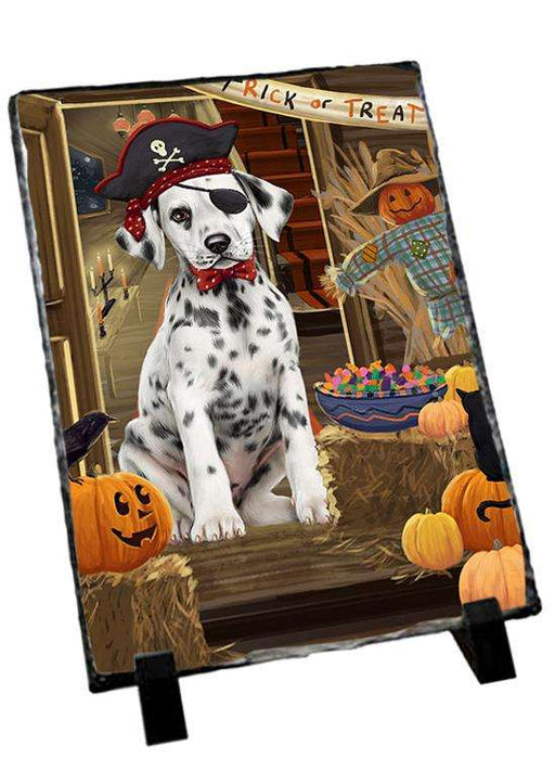 Enter at Own Risk Trick or Treat Halloween Dalmatian Dog Photo Slate SLT53111