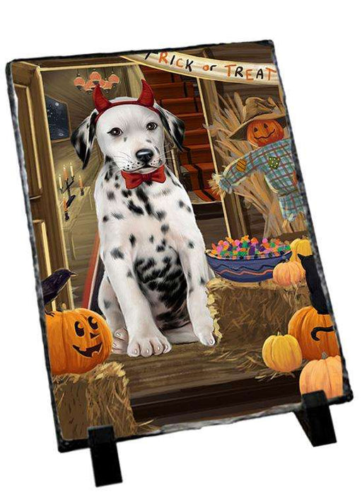 Enter at Own Risk Trick or Treat Halloween Dalmatian Dog Photo Slate SLT53112