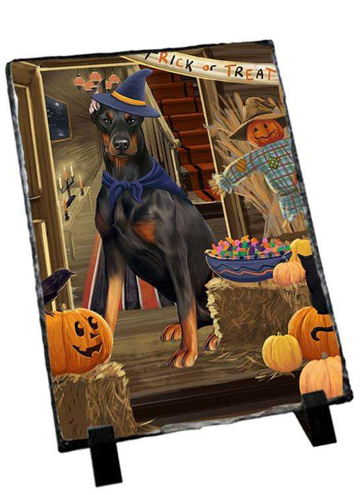 Enter at Own Risk Trick or Treat Halloween Doberman Pinscher Dog Photo Slate SLT53114