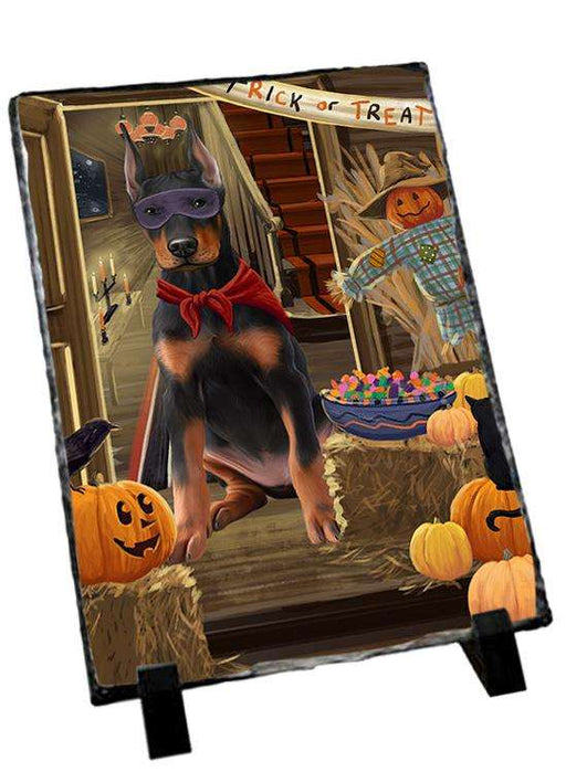 Enter at Own Risk Trick or Treat Halloween Doberman Pinscher Dog Photo Slate SLT53115