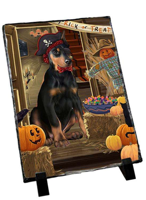 Enter at Own Risk Trick or Treat Halloween Doberman Pinscher Dog Photo Slate SLT53116