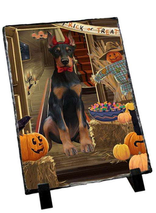 Enter at Own Risk Trick or Treat Halloween Doberman Pinscher Dog Photo Slate SLT53117