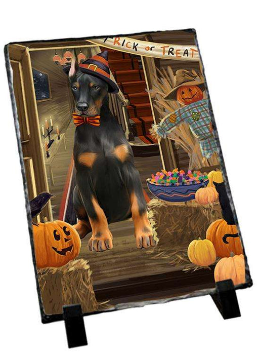 Enter at Own Risk Trick or Treat Halloween Doberman Pinscher Dog Photo Slate SLT53118