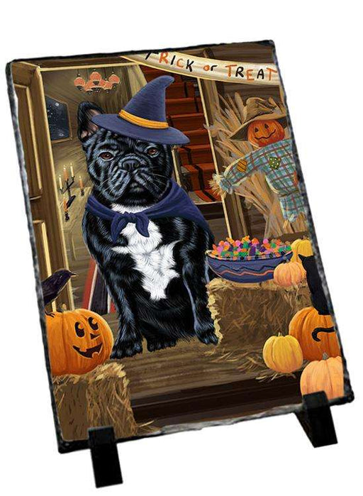 Enter at Own Risk Trick or Treat Halloween French Bulldog Photo Slate SLT53119