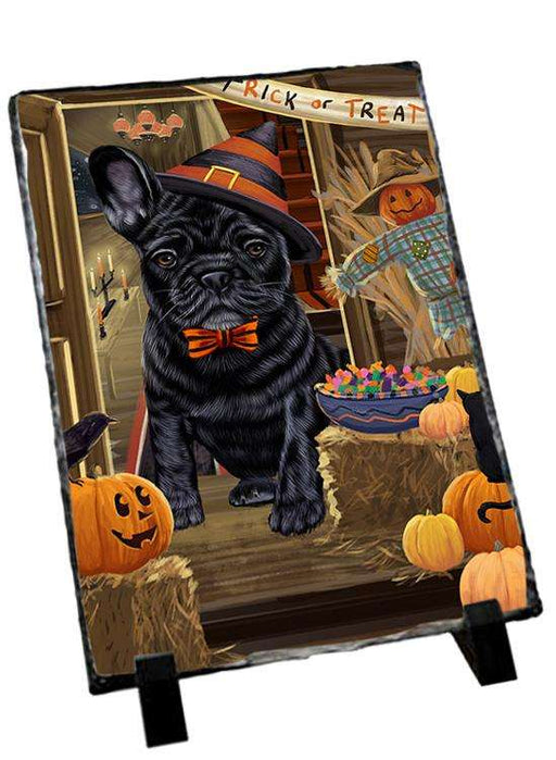 Enter at Own Risk Trick or Treat Halloween French Bulldog Photo Slate SLT53123