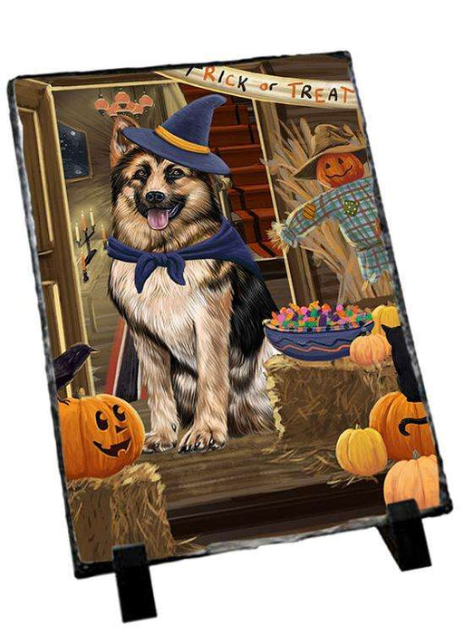 Enter at Own Risk Trick or Treat Halloween German Shepherd Dog Photo Slate SLT53124