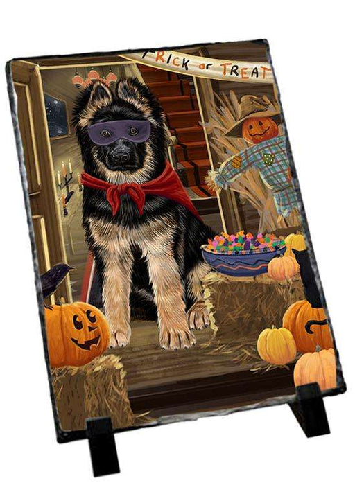 Enter at Own Risk Trick or Treat Halloween German Shepherd Dog Photo Slate SLT53125