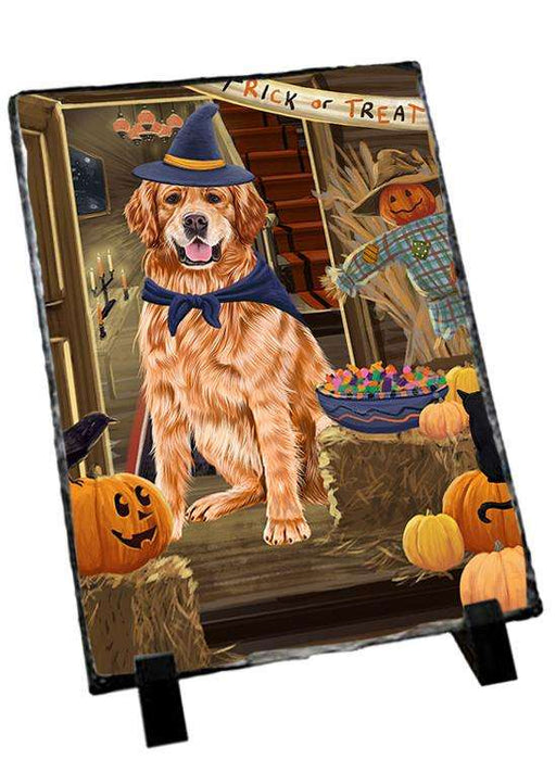 Enter at Own Risk Trick or Treat Halloween Golden Retriever Dog Photo Slate SLT53129