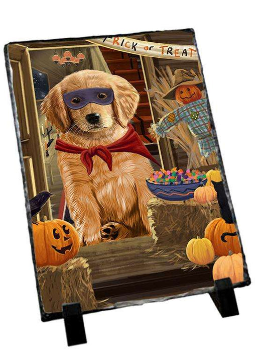 Enter at Own Risk Trick or Treat Halloween Golden Retriever Dog Photo Slate SLT53130