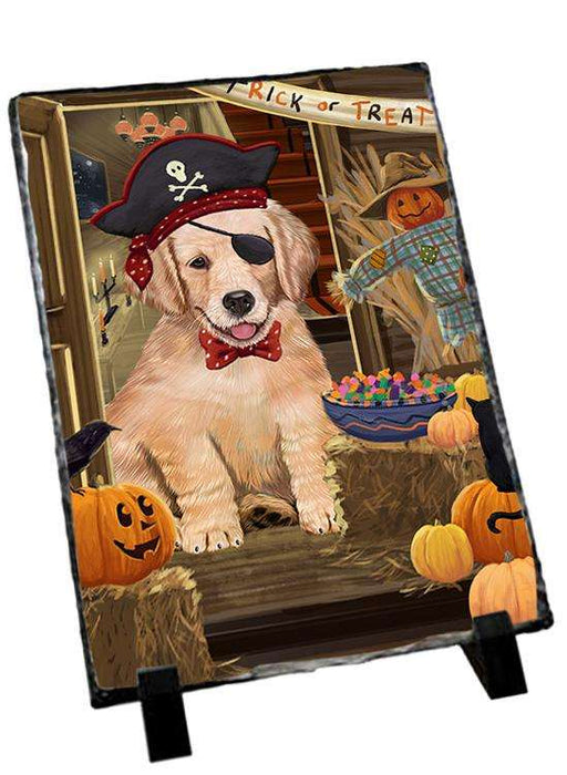 Enter at Own Risk Trick or Treat Halloween Golden Retriever Dog Photo Slate SLT53131
