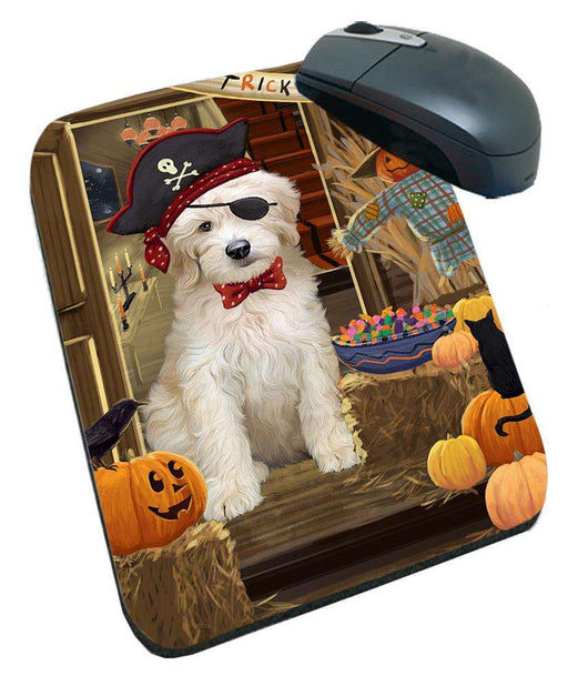 Enter at Own Risk Trick or Treat Halloween Goldendoodle Dog Mousepad MPD53136