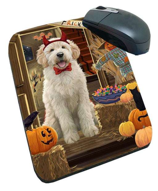Enter at Own Risk Trick or Treat Halloween Goldendoodle Dog Mousepad MPD53137