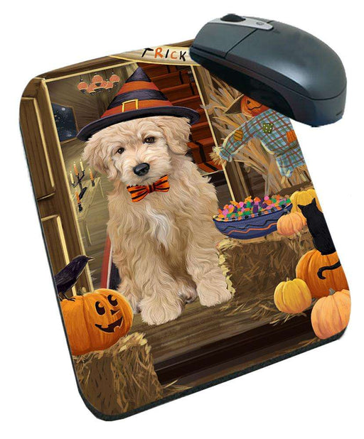 Enter at Own Risk Trick or Treat Halloween Goldendoodle Dog Mousepad MPD53138