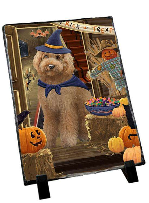 Enter at Own Risk Trick or Treat Halloween Goldendoodle Dog Photo Slate SLT53134