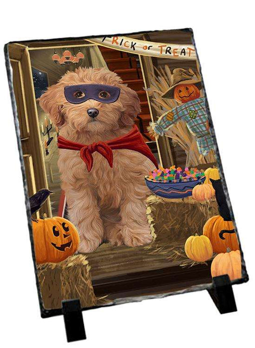 Enter at Own Risk Trick or Treat Halloween Goldendoodle Dog Photo Slate SLT53135