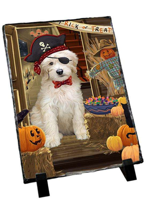 Enter at Own Risk Trick or Treat Halloween Goldendoodle Dog Photo Slate SLT53136