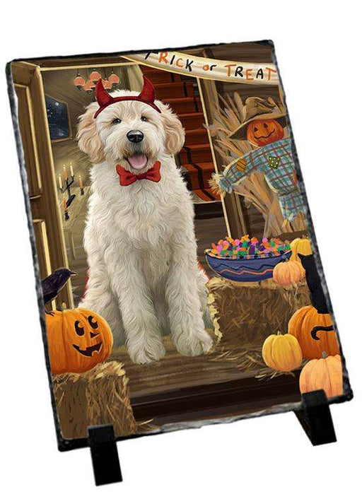 Enter at Own Risk Trick or Treat Halloween Goldendoodle Dog Photo Slate SLT53137