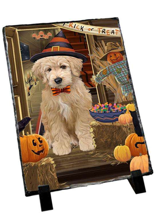 Enter at Own Risk Trick or Treat Halloween Goldendoodle Dog Photo Slate SLT53138
