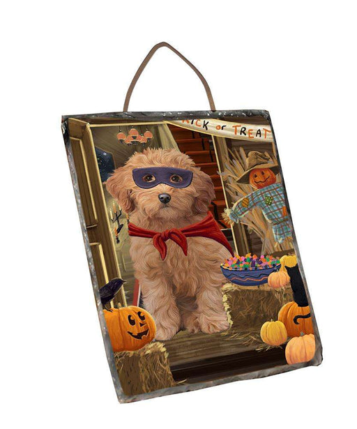 Enter at Own Risk Trick or Treat Halloween Goldendoodle Dog Wall Décor Hanging Photo Slate SLTH53135