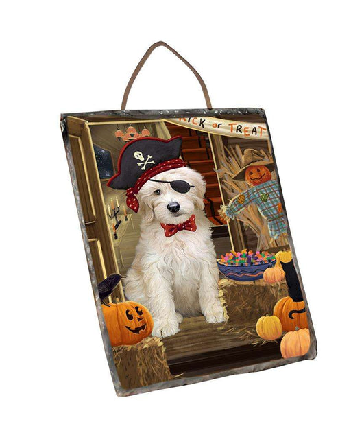 Enter at Own Risk Trick or Treat Halloween Goldendoodle Dog Wall Décor Hanging Photo Slate SLTH53136