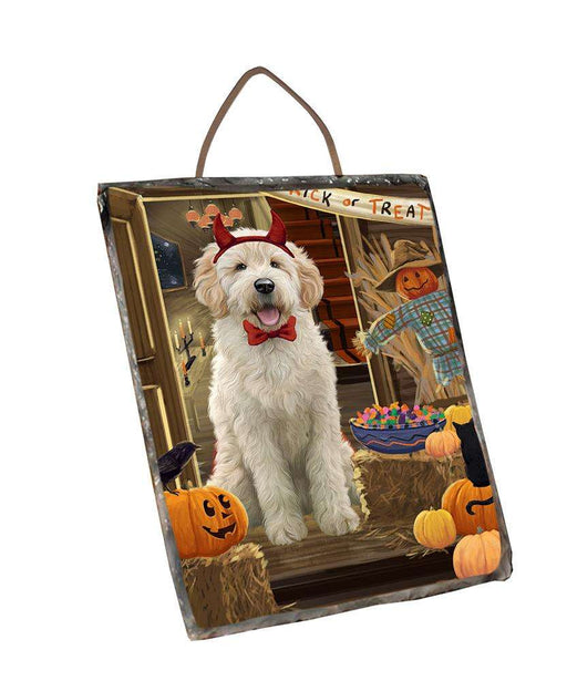 Enter at Own Risk Trick or Treat Halloween Goldendoodle Dog Wall Décor Hanging Photo Slate SLTH53137