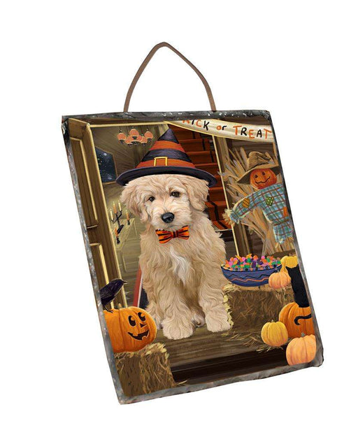 Enter at Own Risk Trick or Treat Halloween Goldendoodle Dog Wall Décor Hanging Photo Slate SLTH53138